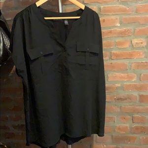 NWT Plus Size INC Black Utility Shirt w Pockets